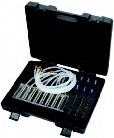 Common rail injector test assortment with 8 measurement pipes