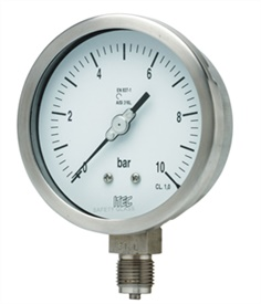 AT SS Case Brass Pressure Gauge Bourdon type