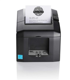 "TSP654IIU-24 USB Star พิมพ์ 300 มิลลิเมตรต่อวินาที Thermal Receipt Printer ,Auto  เครื่องพิมพ์ Thermal TSP650II  The 1st MFi Certified Desk Top POS Printer   Features Versatile thermal receipt printer for traditional POS and mobile, tablet and web-based POS systems  High performance thermal printing at 300mm per second ""Drop-In & Print"" Easy Paper Load  High quality 203 dpi print quality with barcode capability including 2D for receipts, coupons and ticketing  Compact horizontal or vertical footprint 60,000,000 lines CRT reliability Autocutter as standard  TSP654II versions available: TSP654II HI X Connect, TSP654IIBI Bluetooth, TSP654II WebPRNT, TSP654IIE Ethernet, TSP654IIU USB, TSP654IID Serial, TSP654IIC Parallel, TSP654SK Restick Label Printer, TSP654II No Interface   Max. Print Speed	300mm/sec. Resolution	203 dpi No. of Columns	48 / 64 col. Depending on Paper Width Autocutter	Partial Cut (Guillotine) Paper Width	80mm (58mm Using Paper Guide) Paper Thickness	0.053 – 0.085mm Paper"