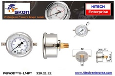 SKON PRESSURE GAUGE 63 MM , BACK CONNECTION WITH U CLAMP