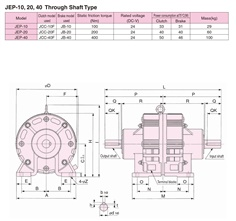 SINFONIA Electromagnetic Clutch/Brake Unit JEP-10, JEP-20, JEP-40 Series