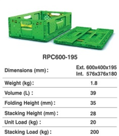Returnable Plastic Crate (RPC) Size : 600x400x195