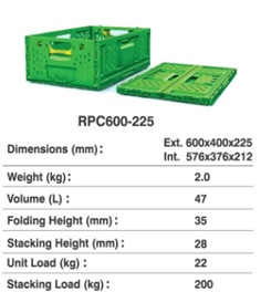 Returnable Plastic Crate (RPC) Size : 600x400x225