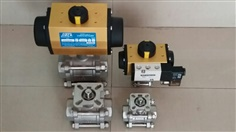 BALL VALVE 3WAY L-PORT/T-PORT WITH PNEUMATIC ACTUATOR