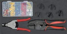 Universal crimping tool set with automatic wire stripper