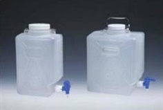 Nalgene Autoclavable Rectangular Carboys with Spigot; PPCO, PP spigot and screw
