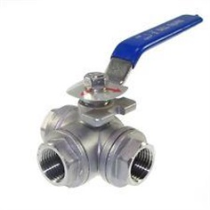 3 WAY REDUCED PORT SCREWED END BALL VALVE