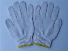 ถุงมือถักด้ายดิบขอบสีเหลือง น้ำหนัก 700 กรัม