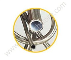 Smooth Core PTFE Tubing with Stainless Steel Overbraiding