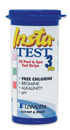Lamotte Insta-TEST 3 Plus : Pool & Spa Test Strip (Free Chlorine, Bromine, Alkalinity, pH)