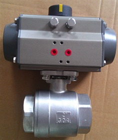 Two piece ball valve with pneumatic actuator