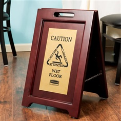 Executive Multi-Lingual Wooden Caution Sign, 2-Sided  ป้ายเตือนพื้นลื่นดีไซน์ไม้