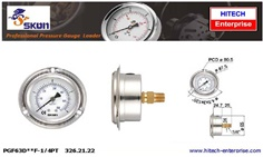 SKON PRESSURE GAUGE 63 MM , BACK CONNECTION WITH FLANGE