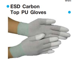 ESD CARBON NYLON TOP FIT PU COATER GLOVES