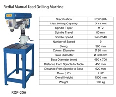 Redial Manual Feed Drilling Machine