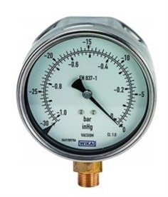 WIKA, Analogue Positive Pressure Gauge Bottom Entry 160psi, Connection Size G 3/8