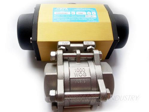 "BALL VALVES (บอลวาล์ว) รุ่น 3-PC SUS PT1.1/2""/SCREWED WITH AP3DA"