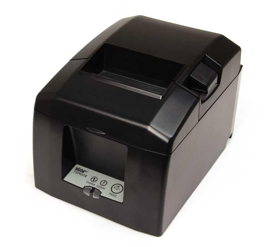 """TSP654IIU-24 USB Star พิมพ์ 300 มิลลิเมตรต่อวินาที Thermal Receipt Printer ,Auto  เครื่องพิมพ์ Thermal TSP650II  The 1st MFi Certified Desk Top POS Printer   Features Versatile thermal receipt printer for traditional POS and mobile, tablet and web-based POS systems  High performance thermal printing at 300mm per second """"Drop-In & Print"""" Easy Paper Load  High quality 203 dpi print quality with barcode capability including 2D for receipts, coupons and ticketing  Compact horizontal or vertical footprint 60,000,000 lines CRT reliability Autocutter as standard  TSP654II versions available: TSP654II HI X Connect, TSP654IIBI Bluetooth, TSP654II WebPRNT, TSP654IIE Ethernet, TSP654IIU USB, TSP654IID Serial, TSP654IIC Parallel, TSP654SK Restick Label Printer, TSP654II No Interface   Max. Print Speed300mm/sec. Resolution203 dpi No. of Columns48 / 64 col. Depending on Paper Width AutocutterPartial Cut (Guillotine) Paper Width80mm (58mm Using Paper Guide) Paper Thickness0.053 – 0.085mm Paper"""