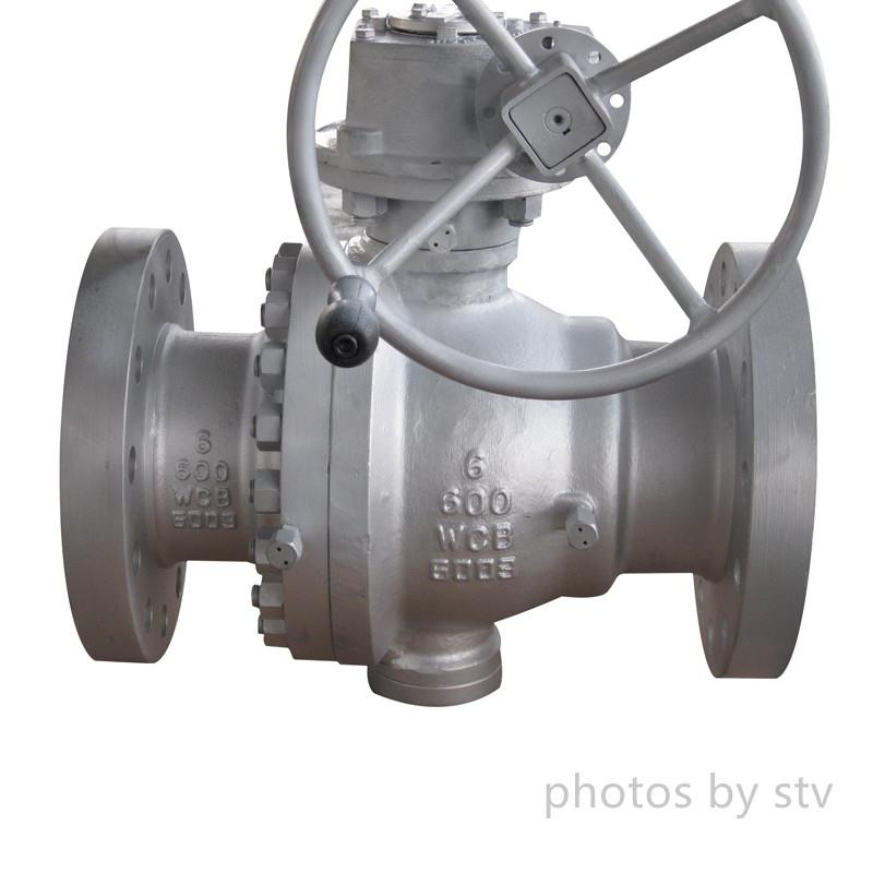API 6D 2-PC Trunnion Ball Valves, ASTM A216 WCB, Flanged RF, Gear Operator, Class 600, 6 Inch,2-PC Trunnion Ball Valves, Cast Steel Trunnion Mounted Ball Valves,China Trunnion Mounted Ball Valve Factory,Flange Trunnion Ball Valves ,stv,Pumps, Valves and Accessories/Valves/Ball Valves