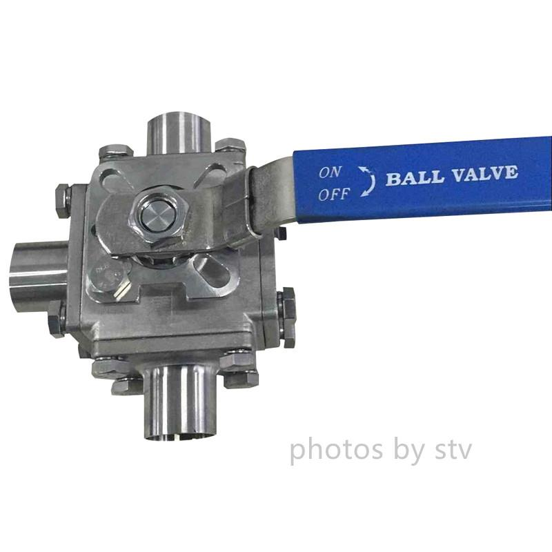 Sanitary 3 Way T Type Ball Valve, Total 304, PTFE Cavity Filled Seat,Butt weld End,Sanitary Ball Valve,Sanitary Stainless Steel 3 Way T Type Ball Valve., PTFE Cavity Filled Seat Ball Valve,Butt Weld Ball Valve,stv,Pumps, Valves and Accessories/Valves/Ball Valves