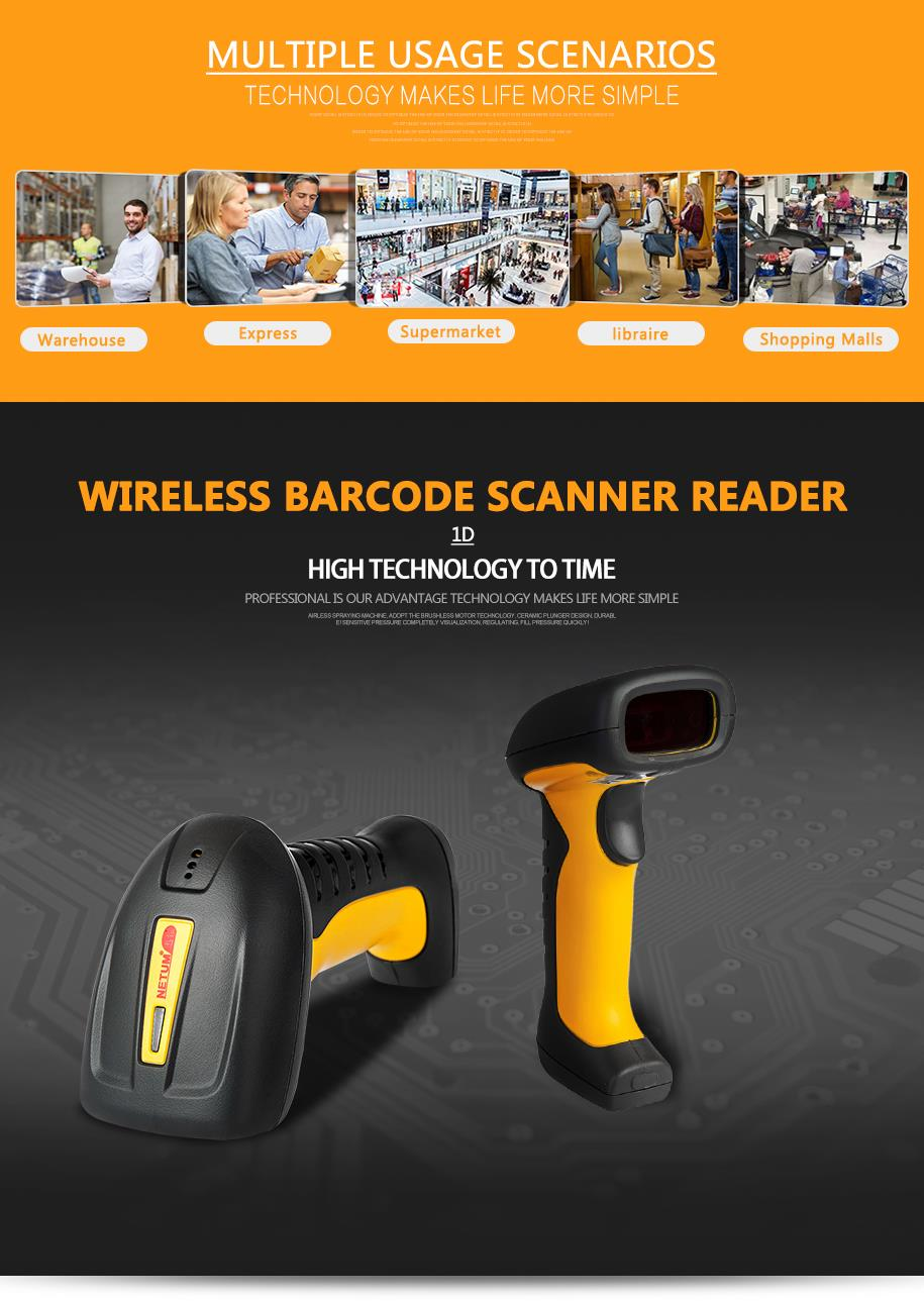 NT-1205 Wireless CCD barcode scanner  Symbologies: 1D codes           Depth of field: 0-300mm  Resolution: 2500  Precision: 0.1mm (4 mil)  Decode Speed:180 times/sec  Communication: face to face  distance 100 - 200M Battery:  1400MAH  Use Time: 35,000times  Print Contrast:?30%  Scanning  Method:  Manual  Water proof  and Quake  proof   Color: Black/Yellow/Orange