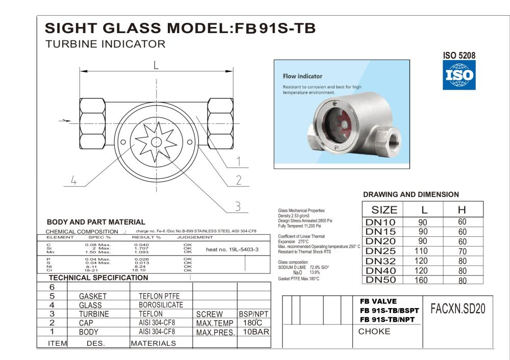 Sight glass Flow indicetor