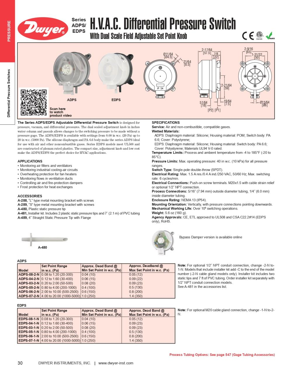 ADPS  DIFFERENTIAL PRESSURE SWITCH