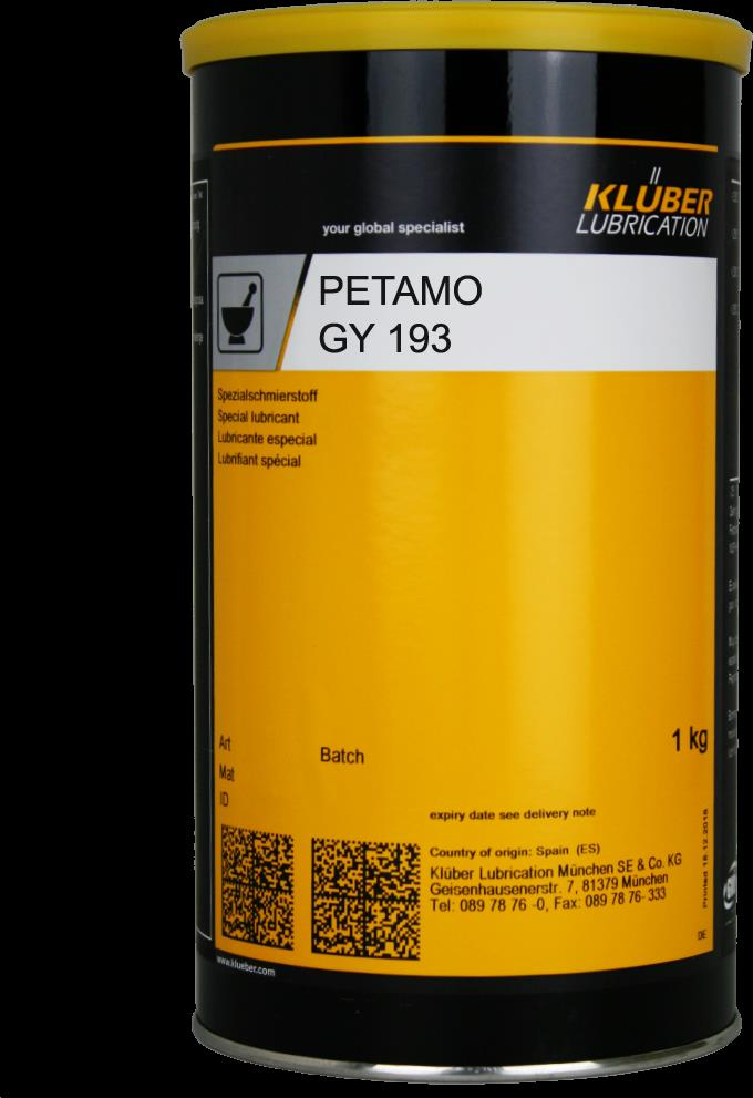 Kluber PETAMO GY 193 Long-term and high-temperature grease 1kg / CAN จารบีคุณภาพสูง นำเข้าจากเยอรมันนี,PETAMO,KLUBER,Hardware and Consumable/Industrial Oil and Lube